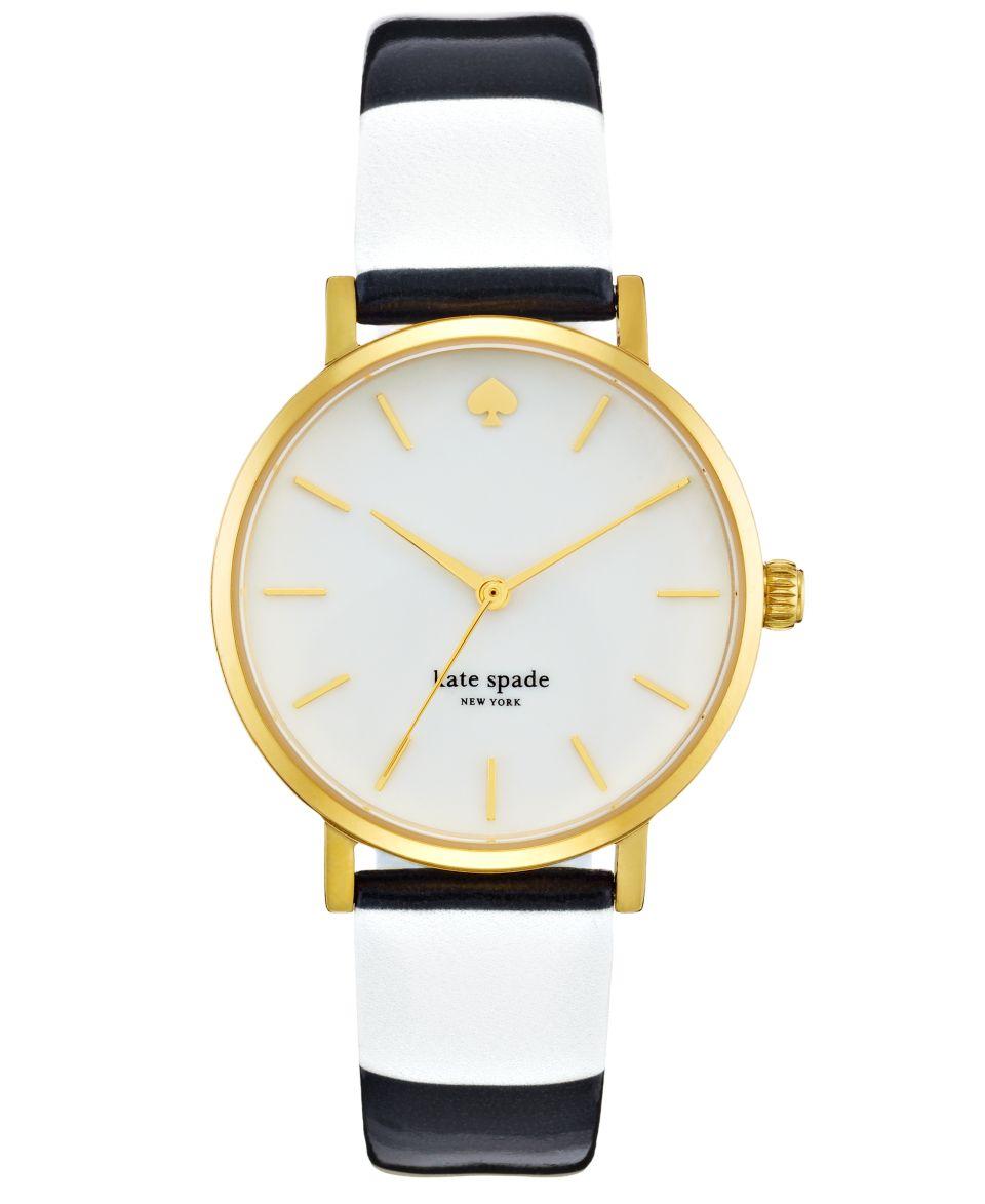 kate spade new york Watch, Womens Metro Black and Beige Stripe Patent Strap 34mm 1YRU0260   Watches   Jewelry & Watches