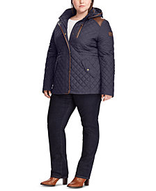 Lauren Ralph Lauren Plus-Size Quilted Hooded Coat, Created for Macy's