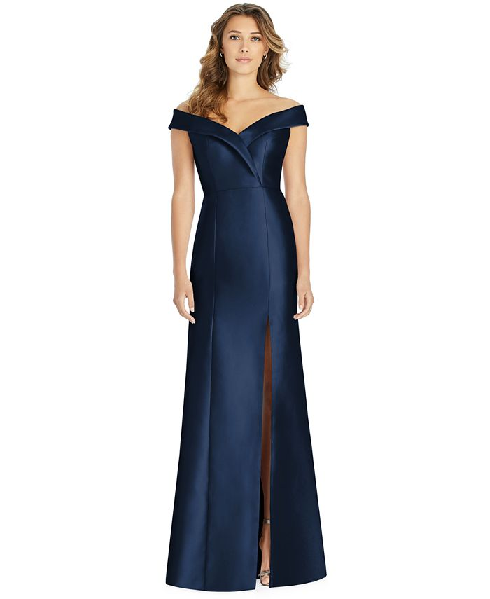 Alfred Sung - Off-The-Shoulder Satin Gown