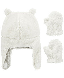 Carter's Baby Boy or Girl  2-Piece Sherpa Hat & Mittens Set