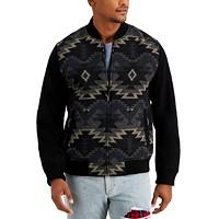 Sun + Stone Mens Geometric Zip-Front Jacket