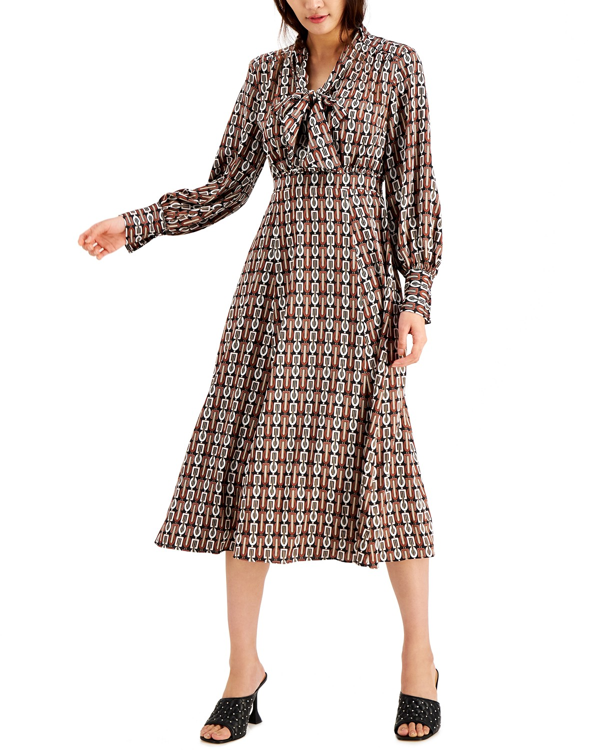 INC International Concepts INC Chain Printed Tie Front Midi Dress, Created for Macy's