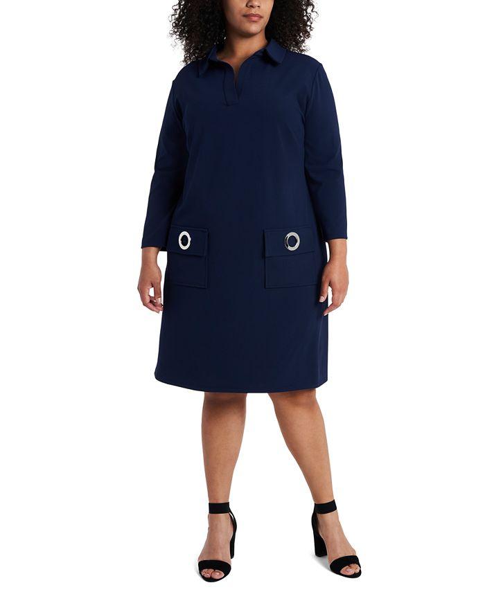 MSK - Plus Size Grommet Pocket Shift Dress