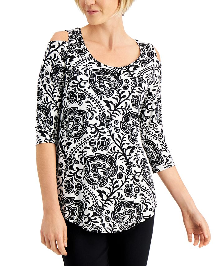 JM Collection - Printed 3/4-Sleeves Cold-Shoulder Top