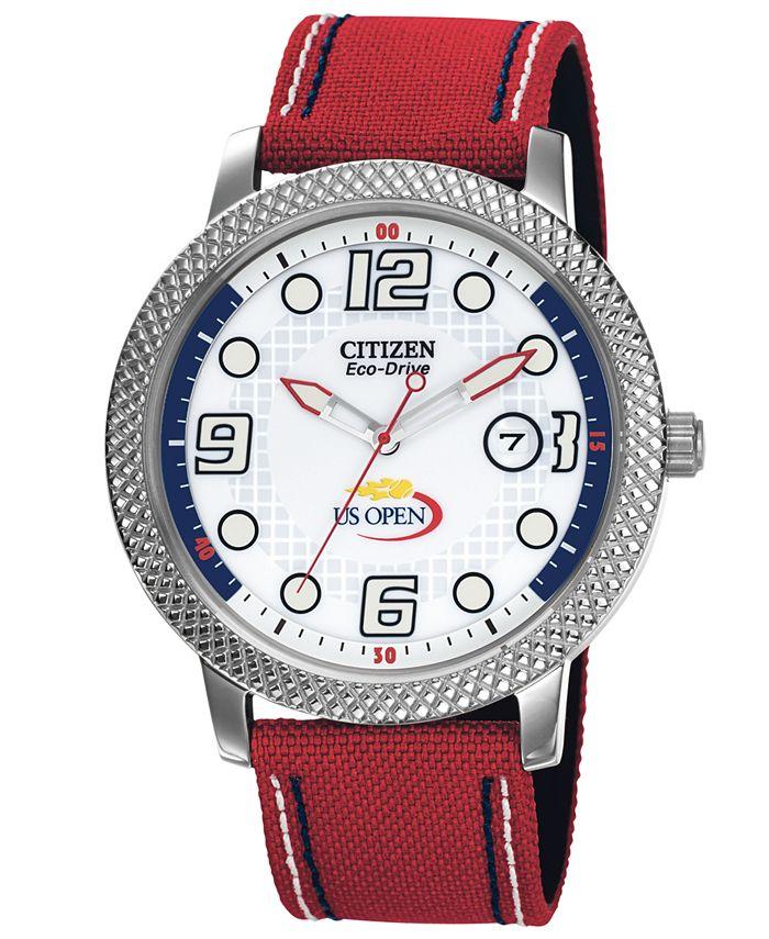 Citizen - Unisex Eco-Drive U.S. Open Red Nylon Strap Watch 42mm BM7211-18A - A Macy's Exclusive