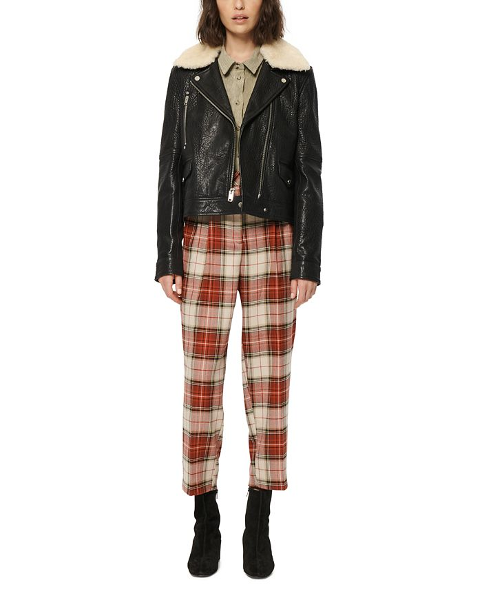 Marc New York - Faux-Fur-Collar Leather Moto Jacket