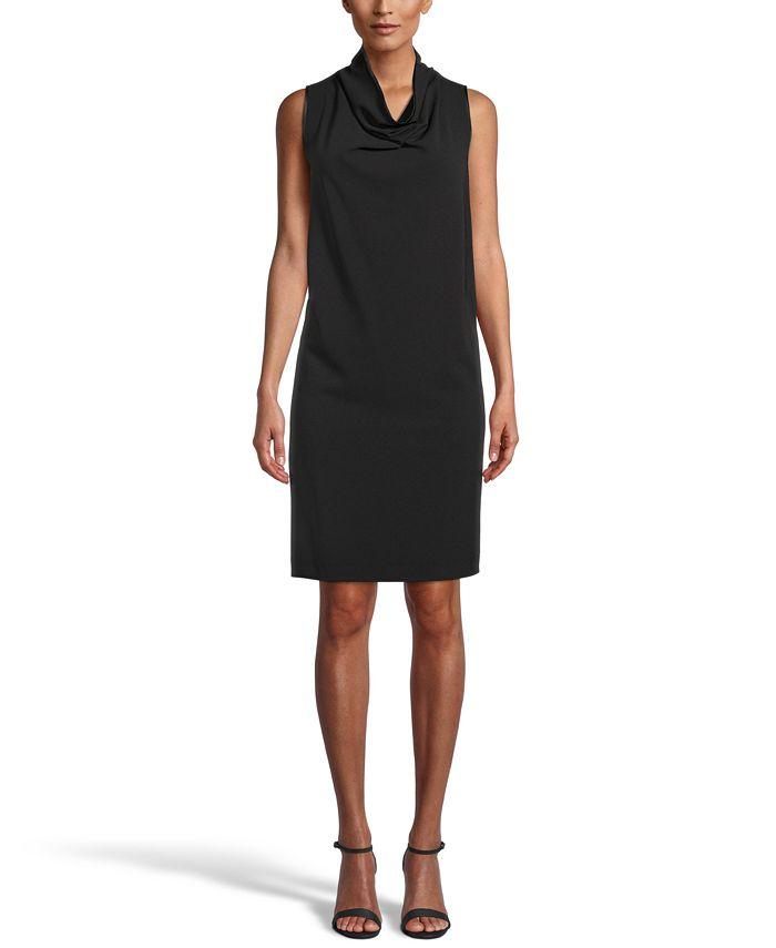 Anne Klein - Cowlneck Crepe Shift Dress