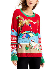 Hooked Up by IOT Juniors' Beach Santa Holiday Sweater