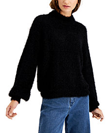 Hooked Up by IOT Juniors' Balloon-Sleeve Mock-Neck Sweater