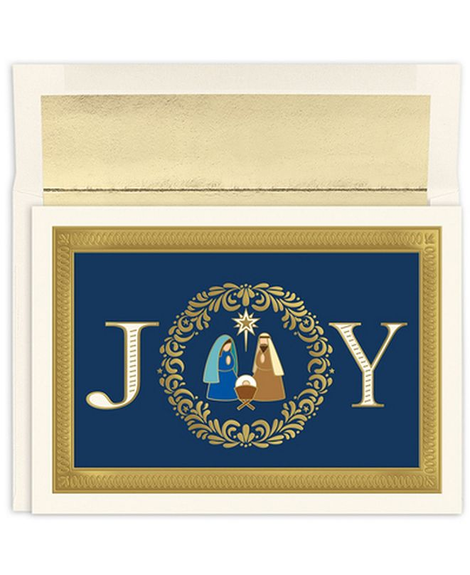 Masterpiece Studios Masterpiece Cards Joy Nativity Holiday Boxed Cards, 16 Cards and 16 Envelopes