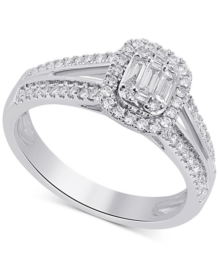 Macy's - Diamond Emerald-Cut Cluster Halo Ring (1/2 ct. t.w.) in 14k White Gold