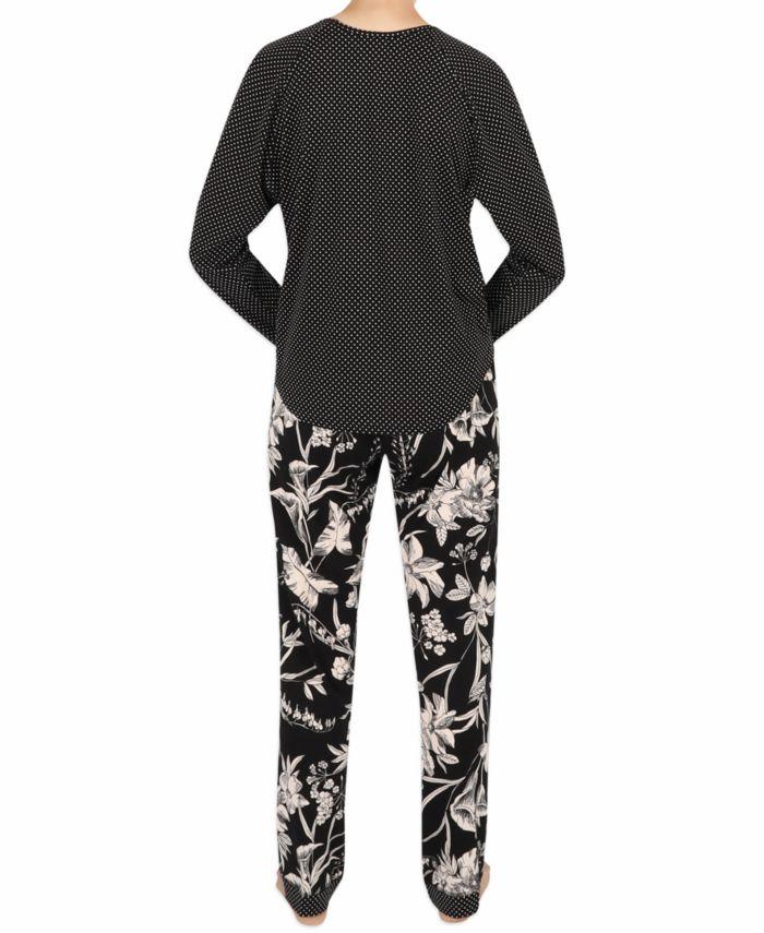 Sesoire Contrast Print Pajama Set & Reviews - Bras, Panties & Lingerie - Women - Macy's