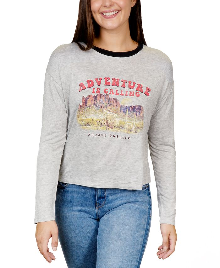 Rebellious One - Juniors' Adventure Graphic Ringer T-Shirt