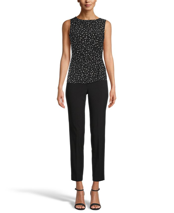 Anne Klein - Ritz Dot-Print Shirred Top