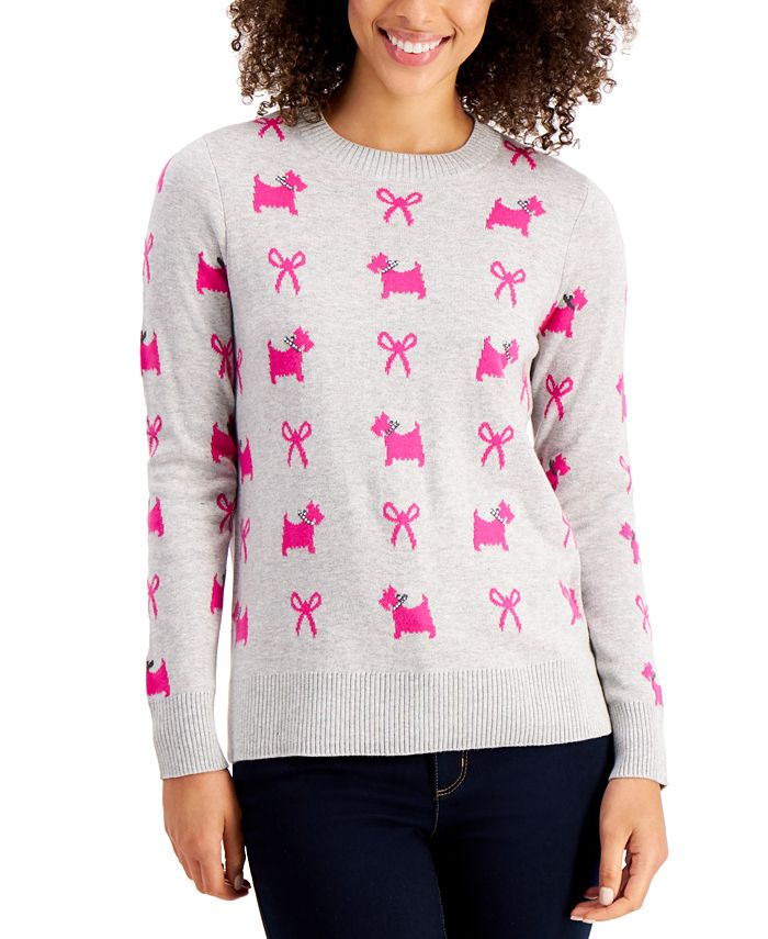 Charter Club - Printed Terrier Bow Sweater, Created for Macy's