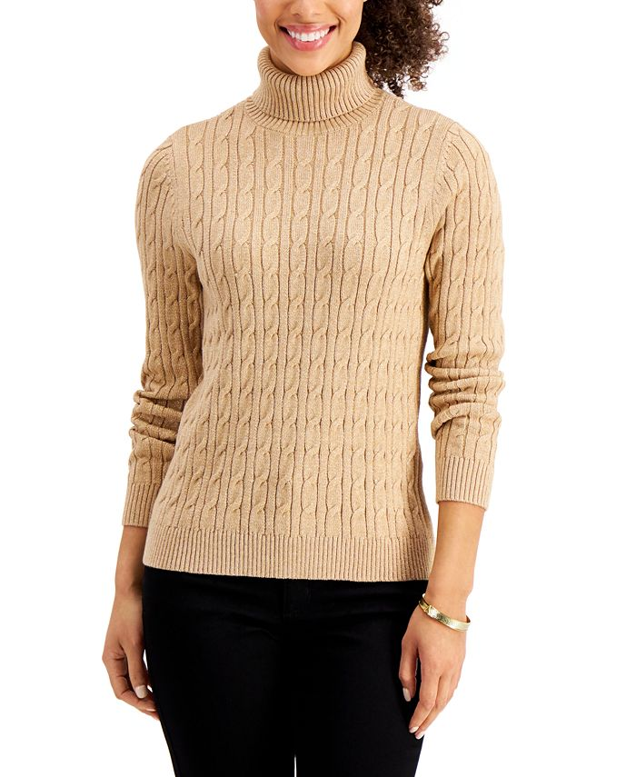 Charter Club - Cable-Knit Metallic Turtleneck Sweater, Created for Macy's