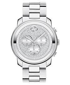 Movado Unisex Swiss Chronograph Bold Stainless Steel Bracelet Watch 44mm
