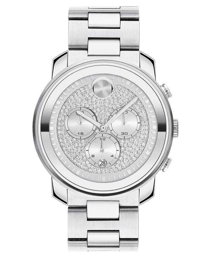 Movado - Unisex Swiss Chronograph Bold Stainless Steel Bracelet Watch 44mm