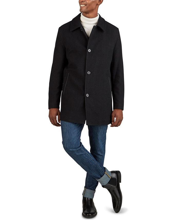 Cole Haan - Men's Classic-Fit Car Coat with Faux-Leather Trim