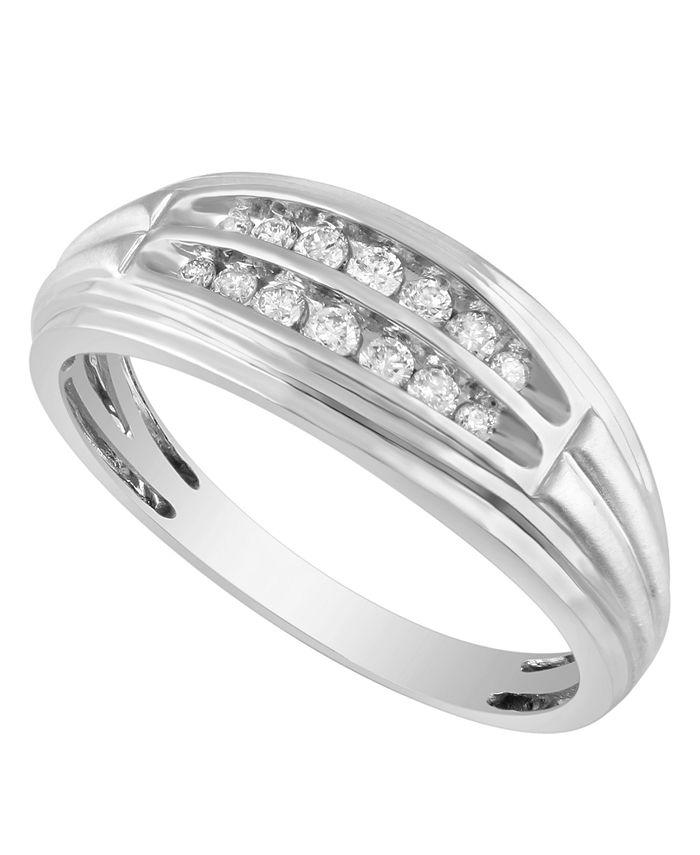 Macy's - Men's Diamond (1/4 ct. t.w.) Ring in 10K White or Yellow Gold