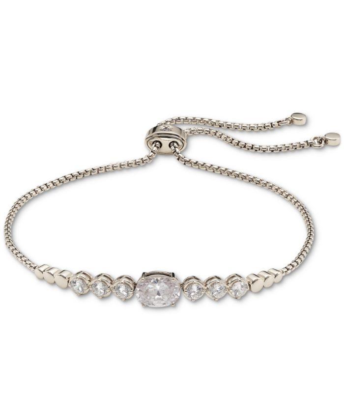 Eliot Danori Silver-Tone Cubic Zirconia Bezel Bolo Bracelet in Sterling Silver, Created for Macy's & Reviews - Bracelets - Jewelry & Watches - Macy's