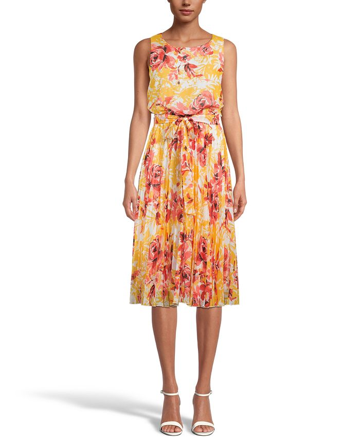 INC International Concepts - Floral-Print Pleated Midi Dress