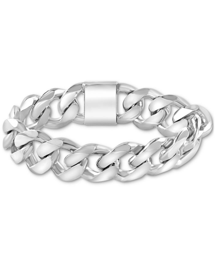 EFFY Collection EFFY® Men's Heavy Curb Link Bracelet in Sterling Silver & Reviews - Bracelets - Jewelry & Watches - Macy's