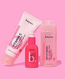 beyou Vitamin C Cleanser, Witch Hazel Toner and Retinol Night Face Serum Set, 9.05 oz