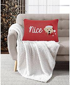 "Naughty/Nice 14"" x 20"" Reversible Decorative Pillow"