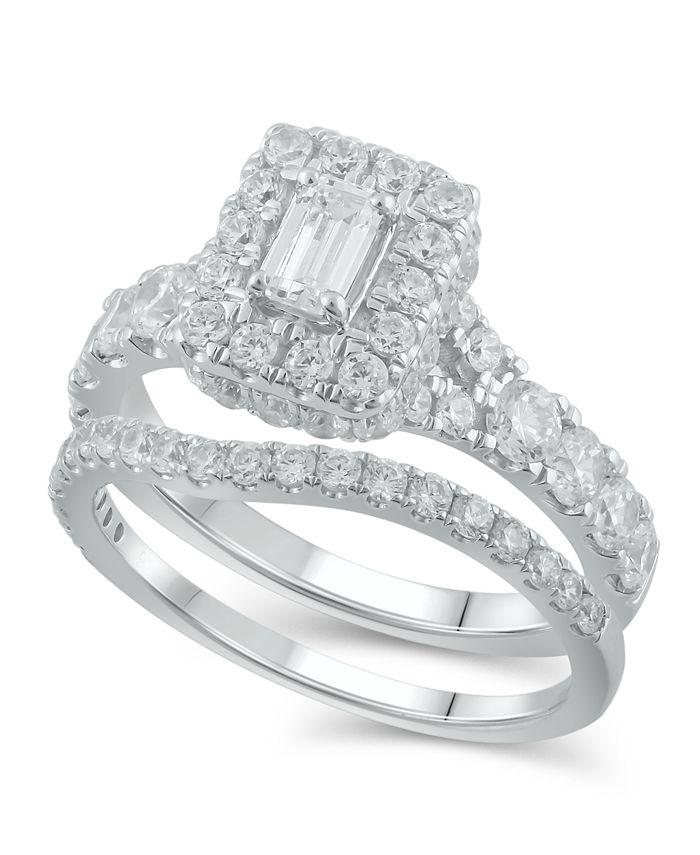 Macy's - Diamond Halo Emerald Bridal Set (2. ct. t.w.)