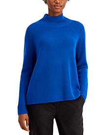 Eileen Fisher Solid Raglan Turtleneck Top
