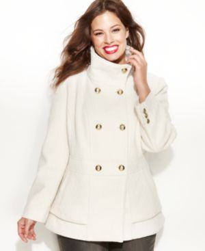 Jessica Simpson Plus Size Coat, Double-Breasted Textured Pea Coat
