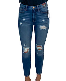 Celebrity Pink Juniors' Curvy High Rise Cotton Distressed Skinny Jeans