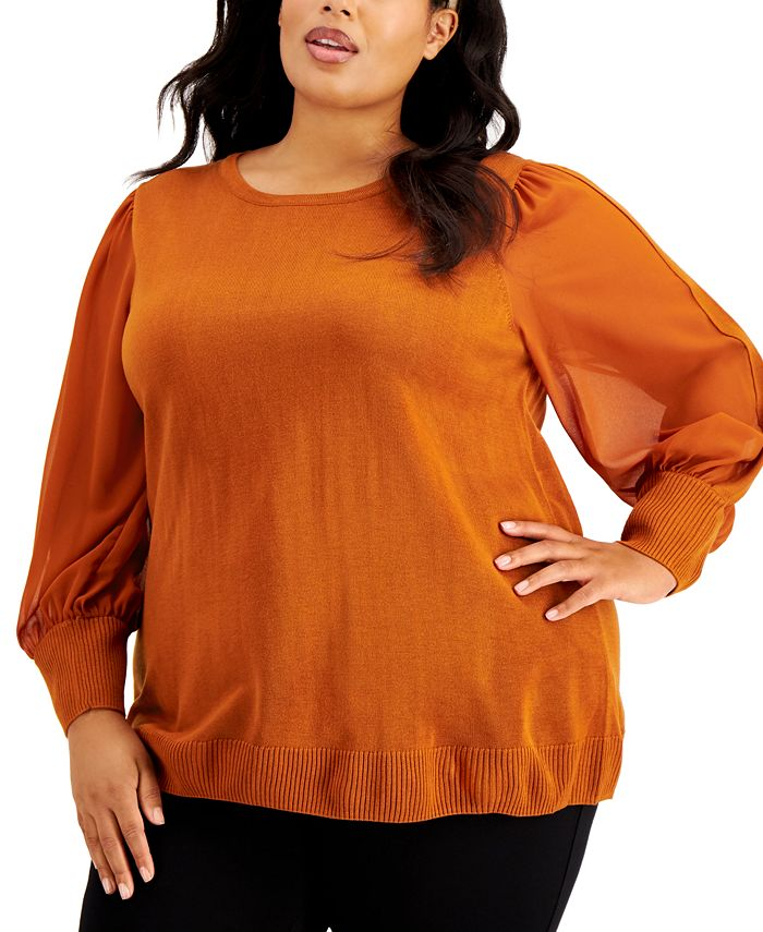 Calvin Klein - Plus Size Sheer-Sleeve Blouse