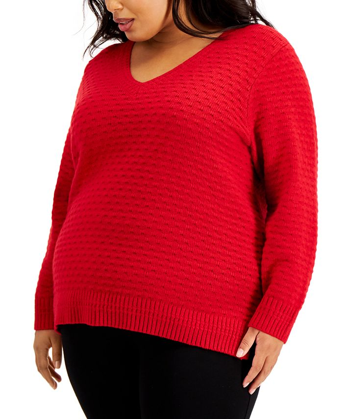Calvin Klein - Plus Size Textured V-Neck Sweater