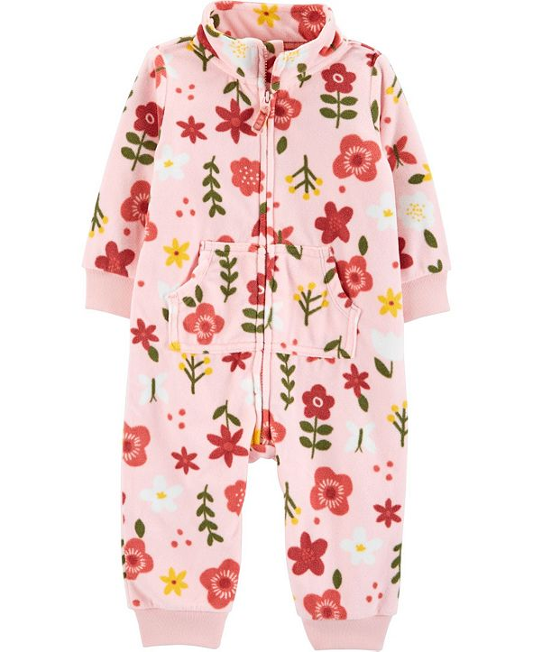 Carter's Baby Girl Floral Zip-Up Fleece Jumpsuit