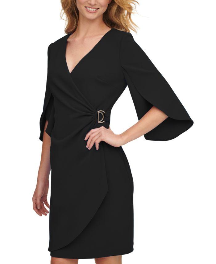 DKNY Split-Sleeve Faux-Wrap Dress & Reviews - Dresses - Women - Macy's