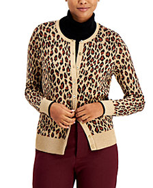 Charter Club Animal-Print Button-Up Cardigan, Created for Macy's