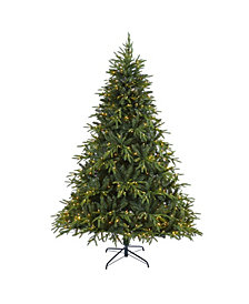 "Nearly Natural Colorado Mountain Fir ""Natural Look"" Artificial Christmas Tree with 600 Clear LED Lights and 3048 Bendable Branches"