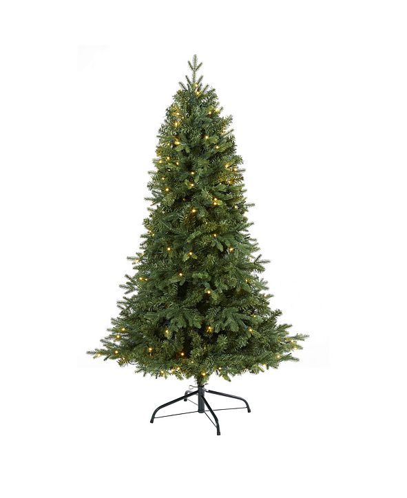 Nearly Natural Vermont Fir Artificial Christmas Tree with 150 Clear LED Lights