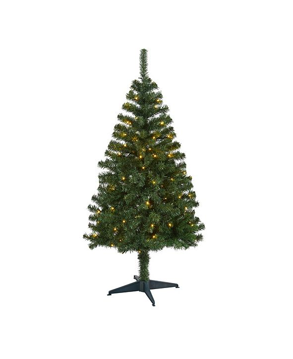Nearly Natural Northern Tip Pine Artificial Christmas Tree with 100 Clear LED Lights