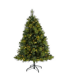 Nearly Natural North Carolina Mixed Pine Artificial Christmas Tree with 200 Warm LED Lights, 711 Bendable Branches and Pinecones