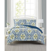 Mytex Deena 3-Piece Reversible King Comforter Set (Blue/yellow)