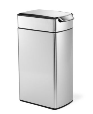 simplehuman Brushed Stainless Steel 40 Liter Fingerprint Proof Slim Touch Bar Trash Can