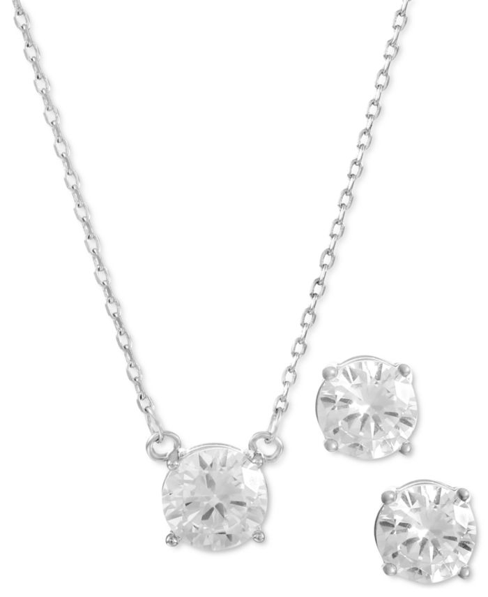 Alfani Silver-Tone Cubic Zirconia Pendant Necklace & Stud Earrings Set, Created for Macy's & Reviews - Necklaces - Jewelry & Watches - Macy's
