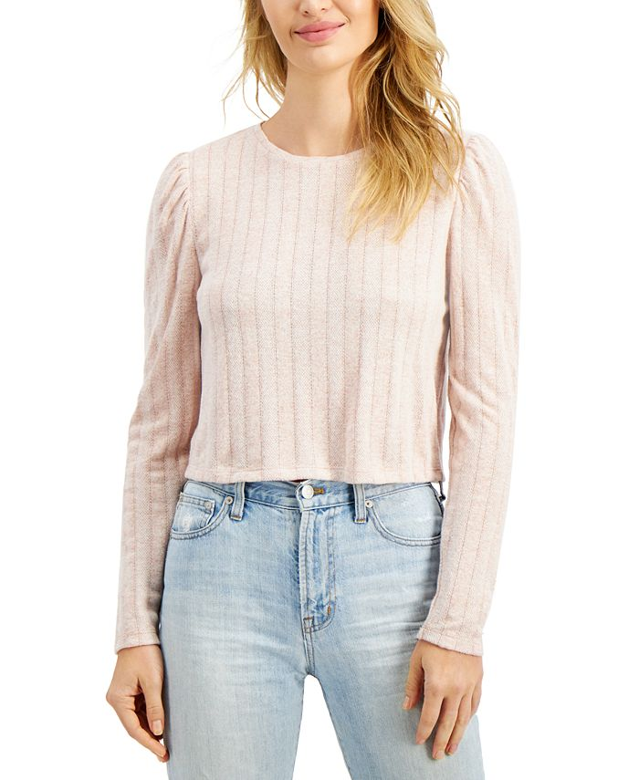 Freshman - Juniors' Pointelle Hacci Puff-Sleeve Top