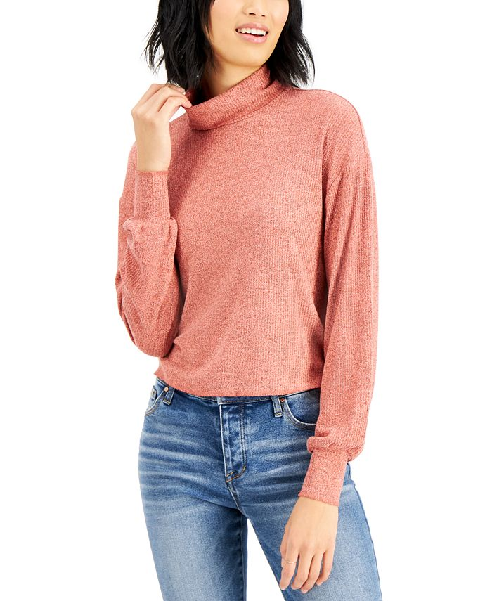Self Esteem - Juniors' Ribbed Bishop-Sleeve Top