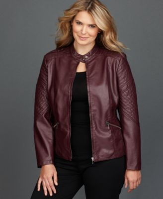 INC International Concepts Plus Size Jacket, Faux-Leather Quilted Moto
