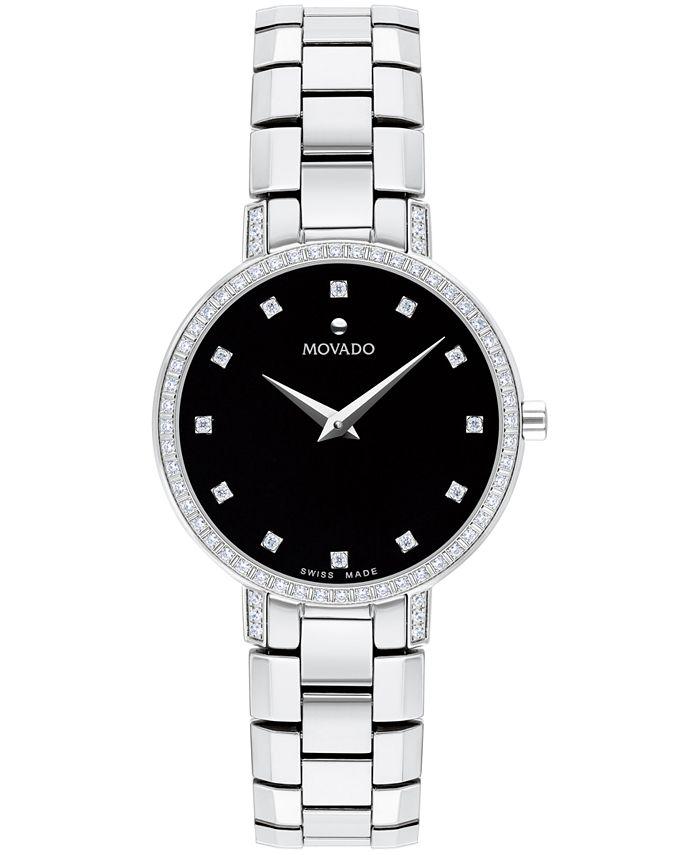 Movado - Women's Swiss Faceto Diamond (1/4 ct. t.w.) Stainless Steel Bracelet Watch 28mm