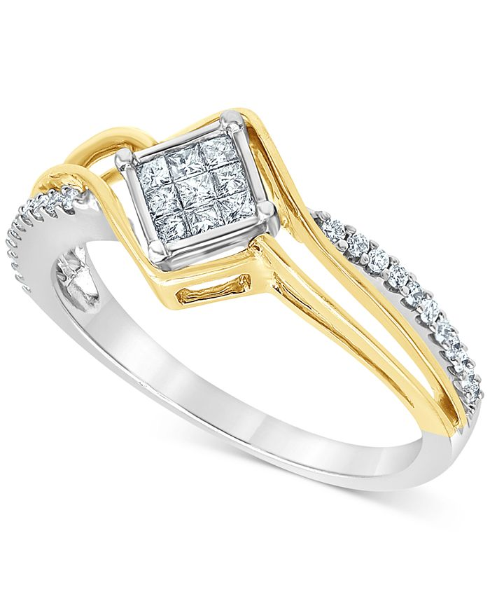 Macy's - Diamond Princess Cluster Two-Tone Ring (1/4 ct. t.w.) in 10k Gold & White Gold